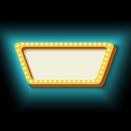 trapezoid: Vintage frame trapezoid with lights. 3d retro shape lamps. Neon blue light falls on the black wall. Blank white space for your text. Design element for your banner. Vector illustration.