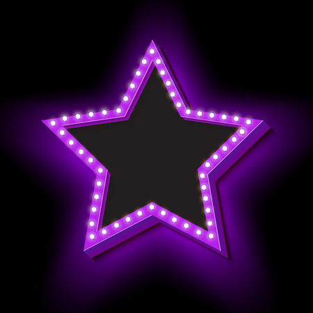 hollywood star: Retro Neon star with lights. Vintage symbol of a star. Volumetric 3D frame icon. Background for your text, messages. Design ellement for advertising banner. Vector illustration Illustration