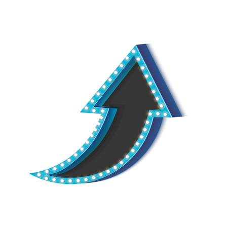 arrowhead: Retro arrow with glowing lights. volume frame. Realistic scalable with  3d volumetric icon on light bulb. Empty space for text. Winter promotions, discounts and offers for your business. Vector Illustration