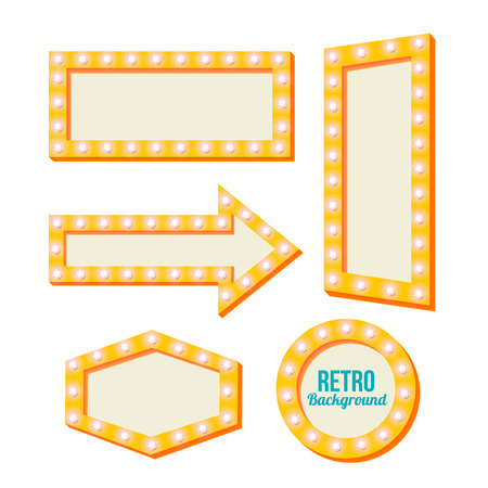 perimeter: Neon Night frame. Vintage backgrounds. Yellow retro signs. Empty space for text. Pointers in retro style. Yellow volume framework. Bright lamp perimeter. Vector illustration Illustration