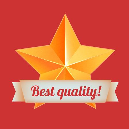3d star: Realistic 3D gold star. Award winner. Good job. The best reward. bulk copper star. Simple star, Best quality. The award for the best choice. Premium class. Golden 3d star with ribbon. Vector Illustration