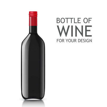 unopened: Empty glass black bottle. Template bottle of wine ready for your sample product design. illustration