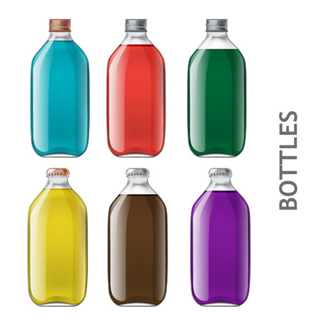 fluids: Template of glass bottles. Dialled realistic of bottles of milk, juice, yogurt, vinegar and any other liquid. Capacity for food and other fluids. Use for your design Stock Photo