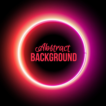 isolated on red: Neon circle. Neon red light. Vector electric frame. Vintage frame. Retro neon lamp. Space for text. Glowing neon background. Abstract electric background. Neon sign circle. Glowing electric circle.