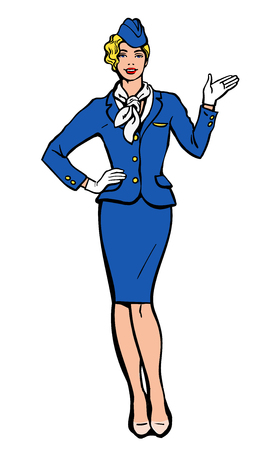 cabin attendant: Blonde stewardess.