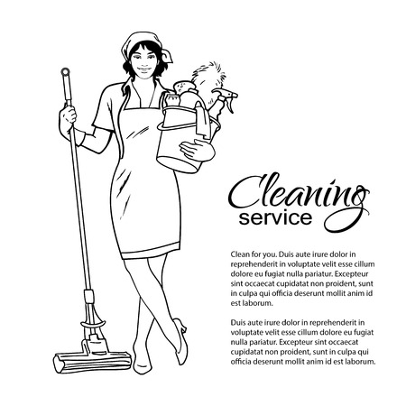 dirty carpet: Cleaning services. The cleaner with a mop.