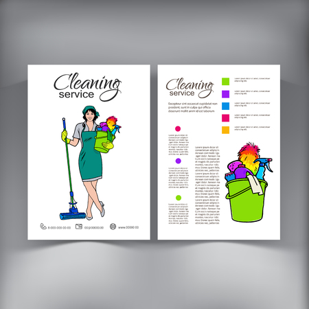 dry cleaner: Cleaning Services. The Cleaner with a Mop. Illustration