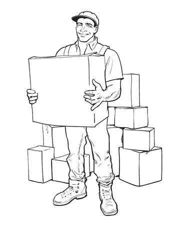 to unload: Moving Companies Shipping. Illustration