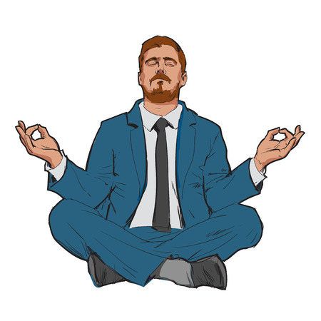 Businessman in nirvana. Relaxed businessman.