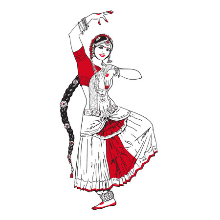 bollywood: Bollywood star. Dancing girl. Indian dance. Oriental girl dancing on a white background. Girl in red oriental dress. Indian dance, movement, film. Vector illustration Illustration