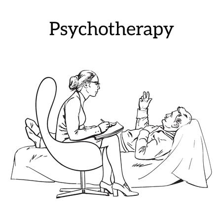 Hulp psycholoog. Vector Illustratie