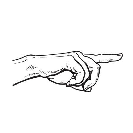 poke': Finger. Finger pointing. Illustration