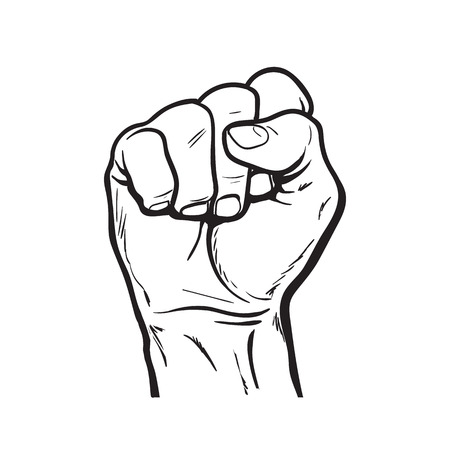 fist pump: Clenched fist. Hand clenched fist.