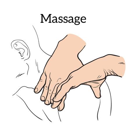 Hand massage, back massage, body massage.