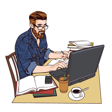 write a letter: A hipster man in a jeans jacket sits at a table.