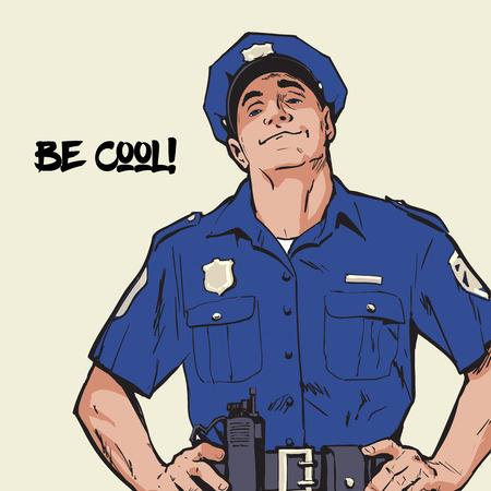 Content policeman in uniform.