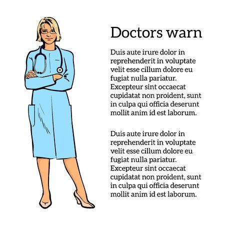 Young girl physician. Vektoros illusztráció