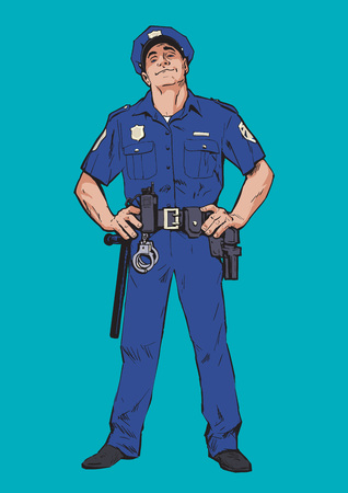 rookie: Content policeman in uniform. Blue form. Confident cop. Self-confident man in a blue uniform. The guy in the cap. Happy policeman. Strong character. Catch the criminals. Vector illustration.