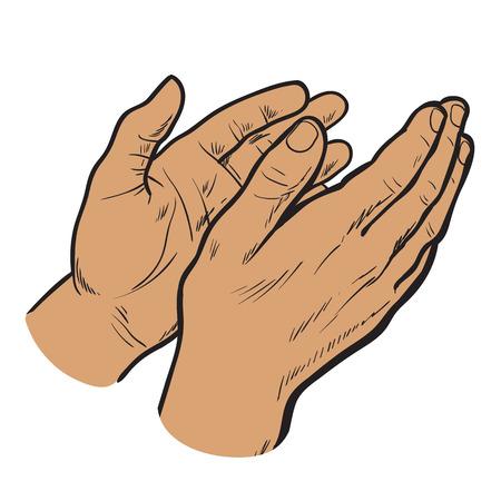Manos de la palmada. vector dibujado a mano.