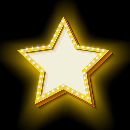 3d star: Realistic 3D star with neon lights.
