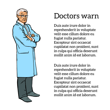 knowledgeable: Old man physician. Physician Specialist. Illustration
