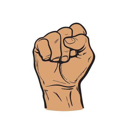 握りこぶし。手は clenched 拳です。