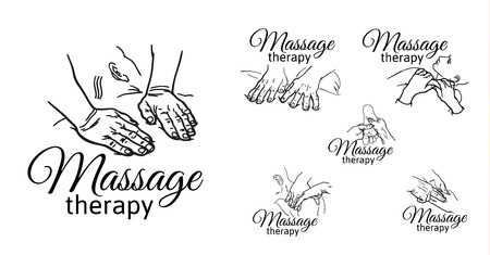 masseur: Hand massage, foot massage, back massage. Types of massage. Set with image of massage. Face massage. Massage therapy. Therapeutic manual massage. Relaxing therapy. Massage vector icons. Body massage Illustration