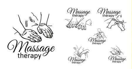 Hand massage, voetmassage, rugmassage. Soorten massage. Set met beeld van massage. Gezichtsmassage. Massage therapie. Therapeutische manuele massage. Ontspannende therapie. Massage vector iconen. Lichaam massage