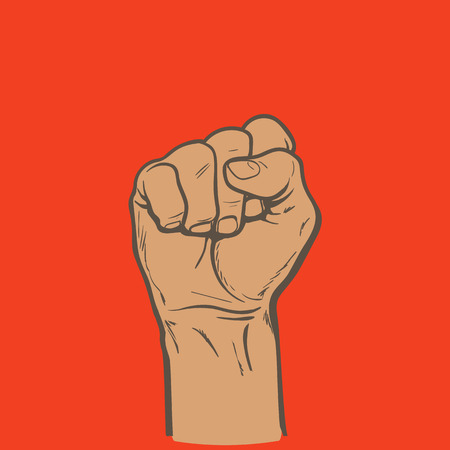 purposefulness: Raised fist. Strong fist on a red background. Illustration