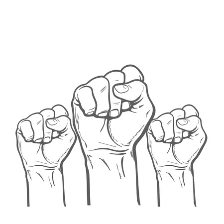 purposefulness: Raised fist. Strong fist on a white background. Illustration