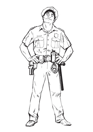 criminals: Content policeman in uniform. Blue form. Confident cop. Self-confident man in a blue uniform. The guy in the cap. Happy policeman. Strong character. Catch the criminals. illustration.