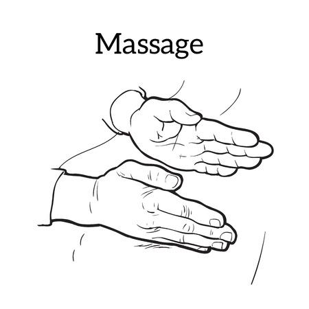 masseur: Hand massage, back massage, body massage. Types of massage. Set with image of massage. Hand massage. Massage therapy. Therapeutic manual massage. Relaxing therapy. Massage icons. Relaxation