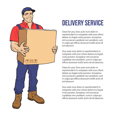 move: Moving Companies. Shipping. Happy loader stands with box. illustration. Move house service. Transportation of things. Delivery of goods. Box. Carrier with a box isolated. Transportation package