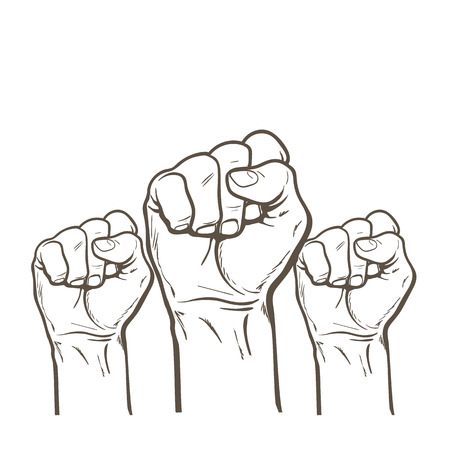 Raised fist. Strong fist on a white background. Mans hand. Male fist. Symbol of power and authority. Symbol of good luck and success. Fist icon. Painted fist. Fist sketch Illustration