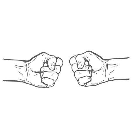purposefulness: Confrontation. The concept of resistance and competition. The concept of struggle. Fists beat. Sketch illustration. fists. Two fist. Painted fist. Fist sketch