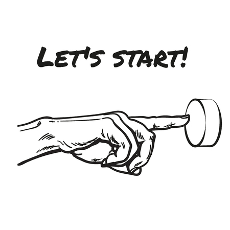 The finger presses the red button. Hand sketch style. Concept beginning. Button press. Run business. hand. Charset value start. Startup. Hand-drawn illustration
