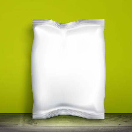 merchandiser: Blank white packaging. Sample package. Blank template for design. Net packaging is on shelf. Mockup Foil Food Snack pack, packaging, wrapper. Plastic Pack Template for design and branding. Green wall Illustration
