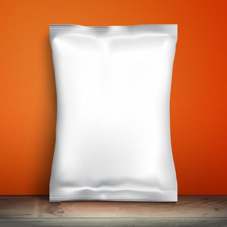 confezione bianca in bianco. pacchetto di esempio. Modello in bianco per la progettazione. imballaggi Net è sullo scaffale. Snack Pack Mockup Carta stagnola Cibi, imballaggio o involucro. Template Pack di plastica per la progettazione e branding. muro rosso