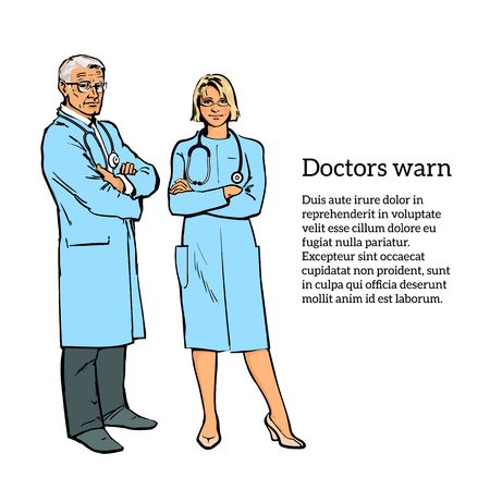 knowledgeable: Realistic Physicians upright. Should the doctor a young girl. Old man in a medical dressing gown. People stand with his arms crossed. Doctors warn. A close look. Hand-drawn style. Illustration