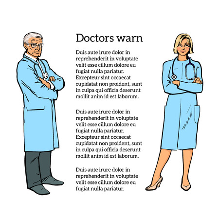 physiotherapist: Realistic Physicians upright. Should the doctor a young girl. Old man in a medical dressing gown. People stand with his arms crossed. Doctors warn. A close look.