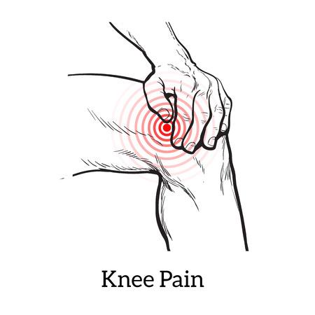 dolor en la rodilla pintado. Molestias en una pierna conjunta. Los síntomas de las funciones motoras en los seres humanos. Es difícil caminar. ilustración piernas de croquis. Las manos sostienen la rodilla en lugar de dolor. ilustración de la rodilla Ilustración de vector