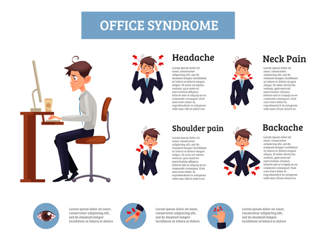 sedentary: Infographics office syndrome, illustration of a man sitting at a work space, an employee is experiencing suffering, demonstration of different types of pain in body due to sedentary work