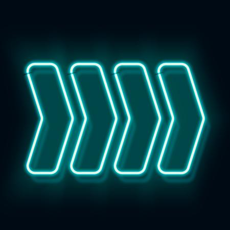 Vintage neon electro direction. Club Blue retro arrow indicates the direction. 4 arrows on a black background. illustration