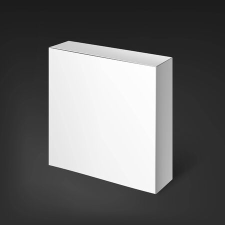 posting: Blank template white realistic box ready for your design. The box is suitable for food, electronics, software, books, posting, household goods. Mockup Template. White Product Cardboard Package Box