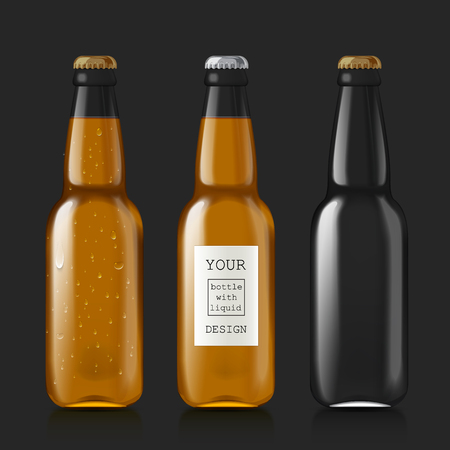 glass bottle: Transparent glass bottle. Realistic scalable and empty beer bottles. Patterns of bottles with liquid - beer, water, soda. Mock Up Template Ready For Your Design. Isolated On Black Background