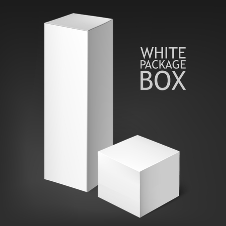 household goods: Set Of White Package Box. Mockup Template. he box is suitable for food, electronics, software, books, posting, household goods, cosmetics. Mock Up Template Ready For Your Design. Stock Photo