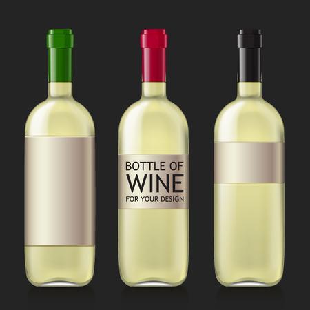 unopened: Transparent glass bottle. Set realistic glass bottles for wine. Patterns of black empty wine bottles ready for a sample of your design. Mock Up Template. illustration.