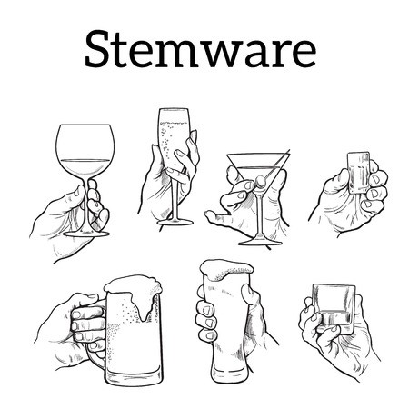 The hand holds a glass with alcohol. Drinks - champagne, beer, tequila, cocktail. Set with izobrezheniem hands and alcohol. The concept of alcohol consumption and of a good evening. . Sketch Vector Illustration