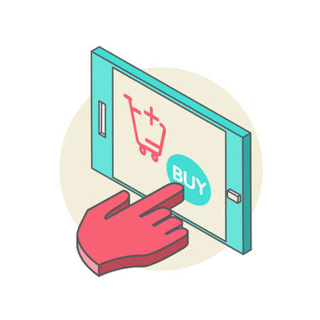 poke': Isometric illustration of a hand poke in the phone screen, the purchase in the online store, and the button for online basket of goods, purchase items through a worldwide network of Internet Stock Photo