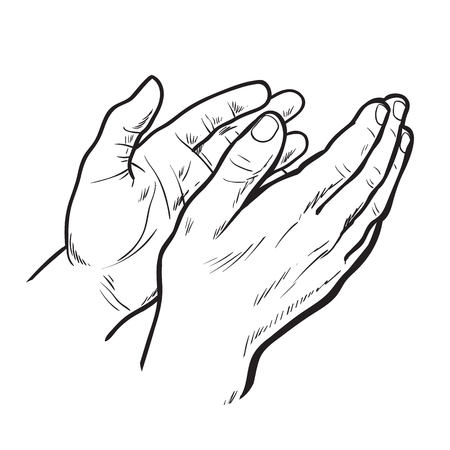 clap: Hands clap. hand drawn. Circuit hands. Symbol of applause. Bravo. Applause in sketch style. Hands clap. Narisovanna hands clapping in support. Success. Hands on a white background. Stock Photo
